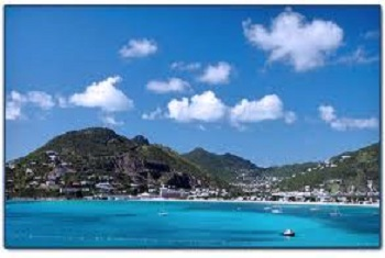 Scenic Mountains and vegetation of St, Maarten USVI