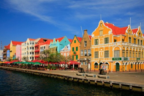 Colorful Buildings Lining the River in Curacao
